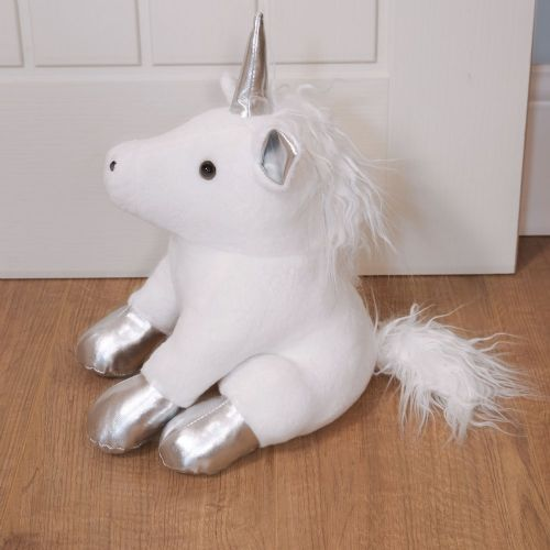 Magical Unicorn Doorstop White and Silver Christmas Decor Doorstop